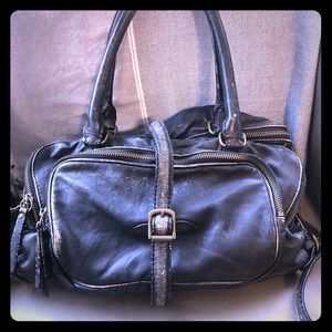 JCrew Distressed Black Leather Handbag